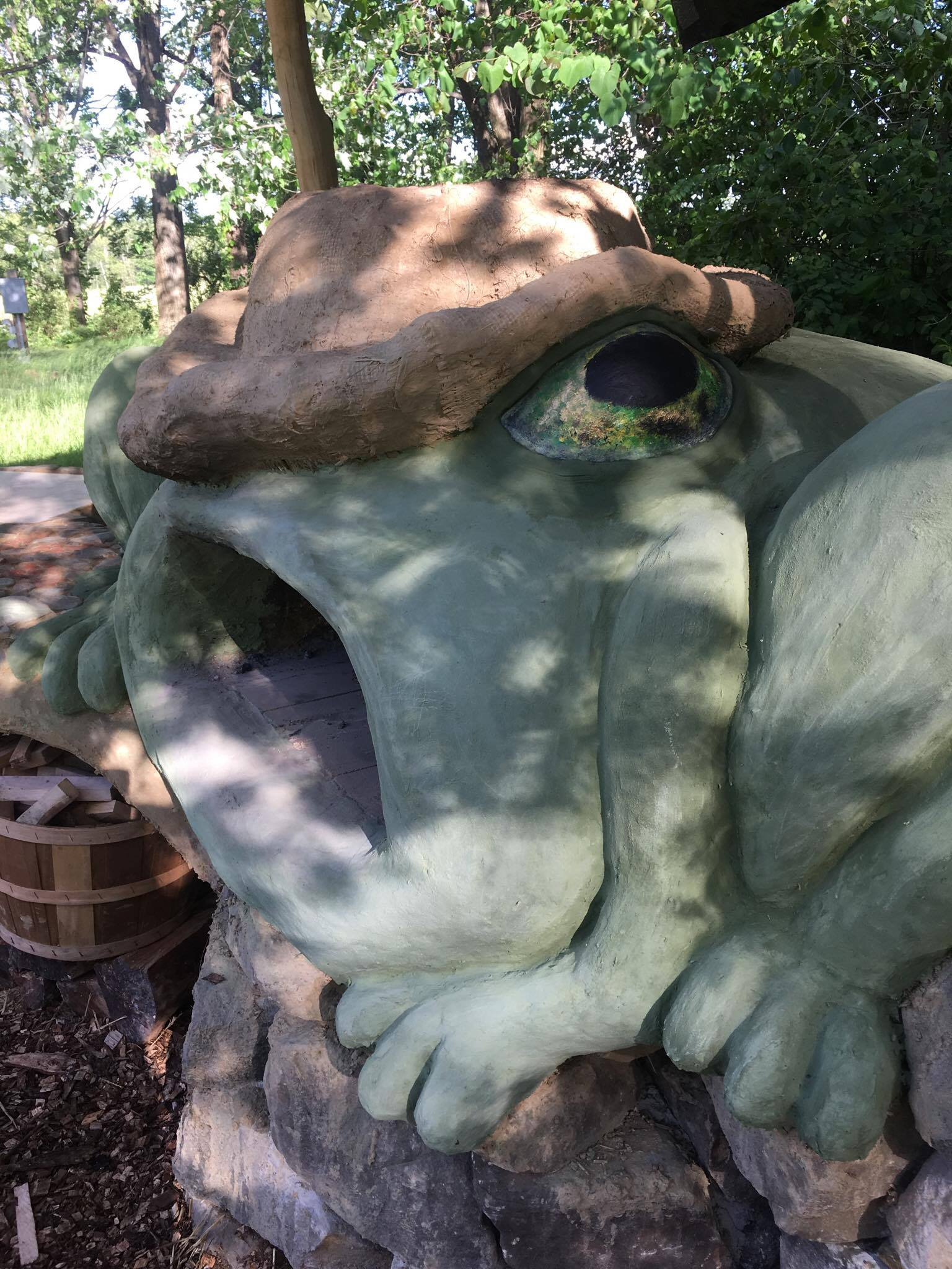 Frog-themed Earthen Cob Pizza Oven