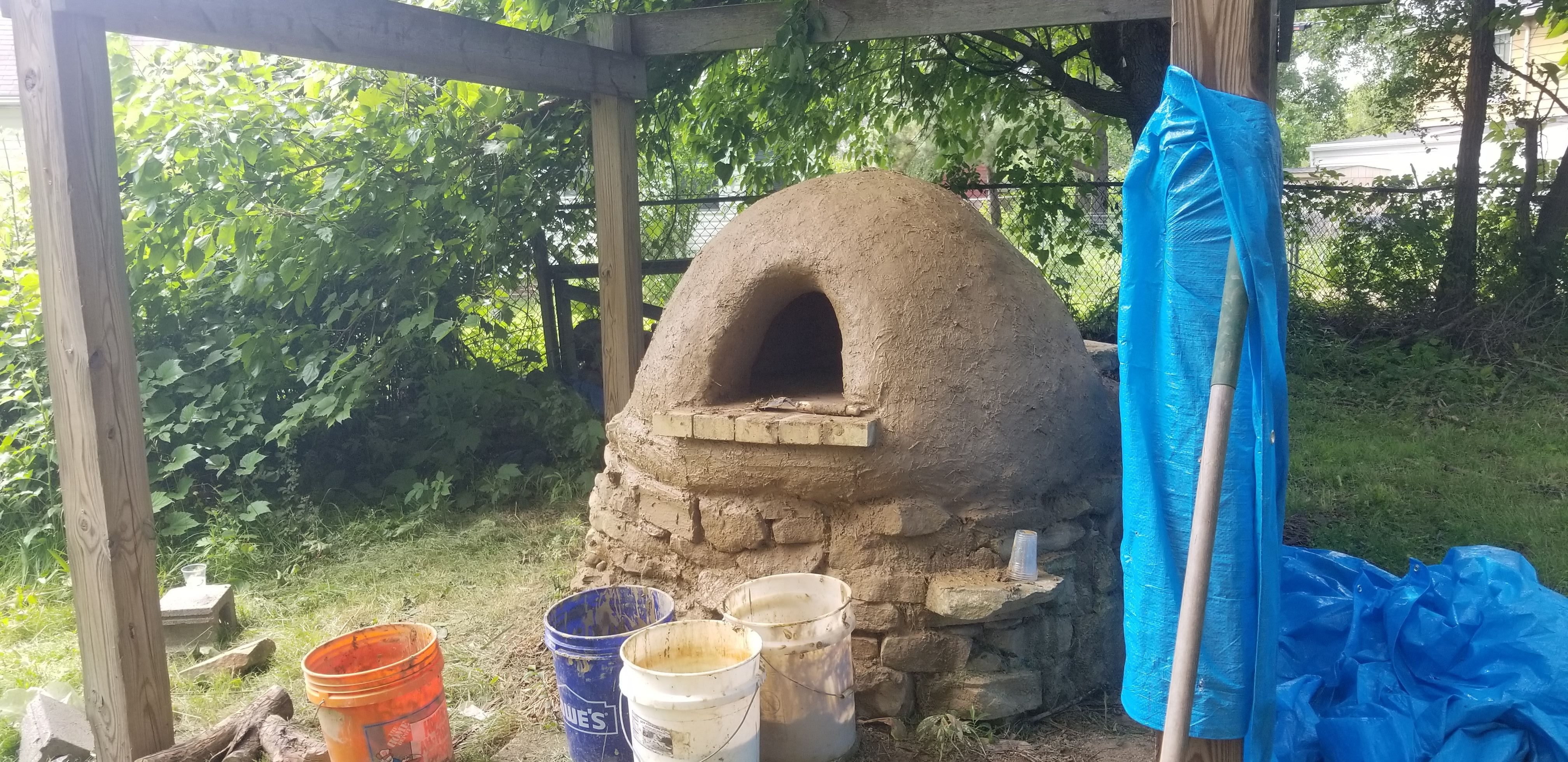 Traditional style earthen cob oven