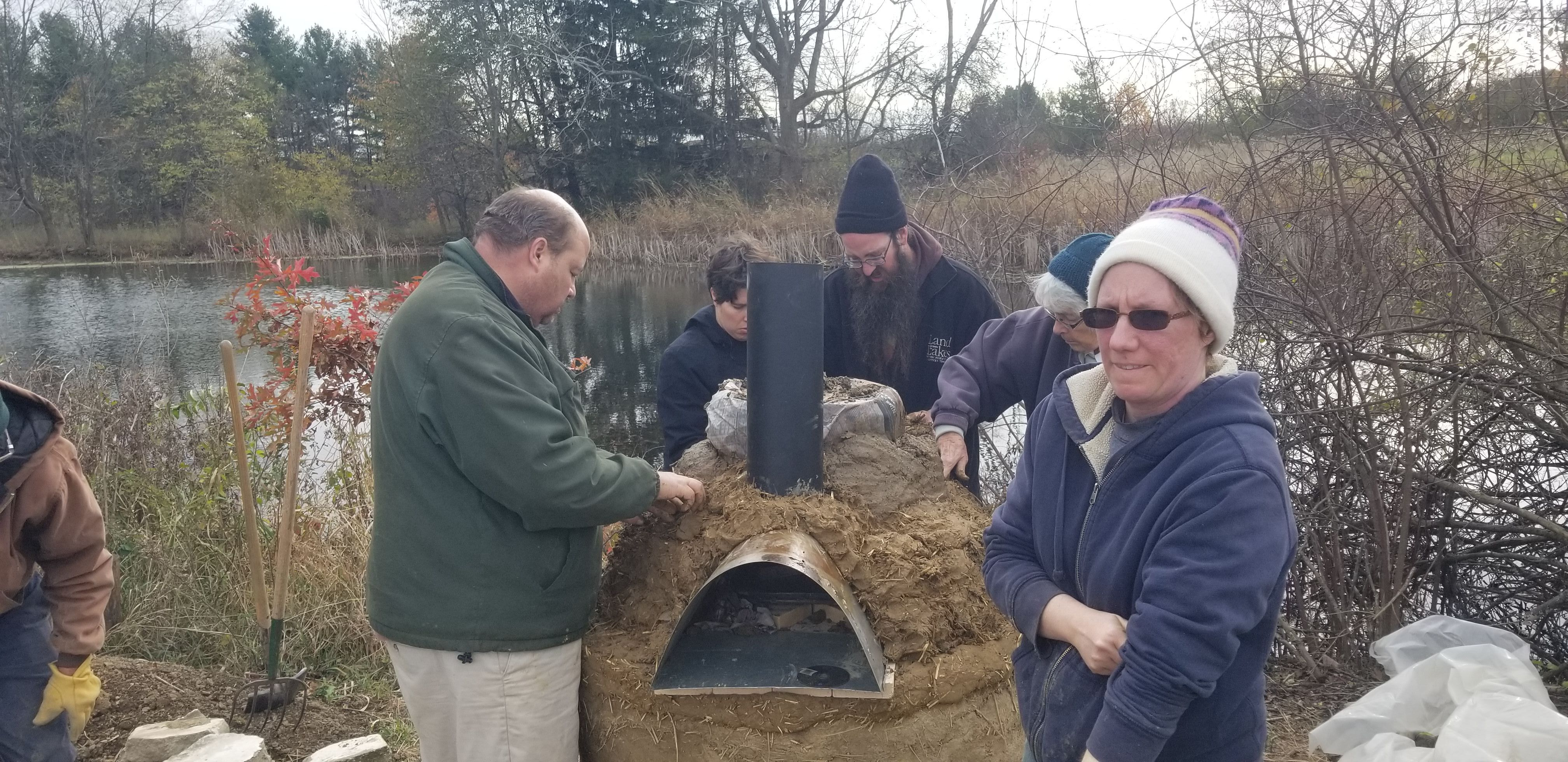 Building the earthen cob oven