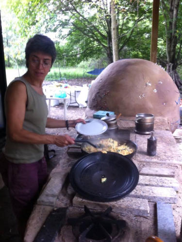 Cooking in a Natural Outdoor kitchen