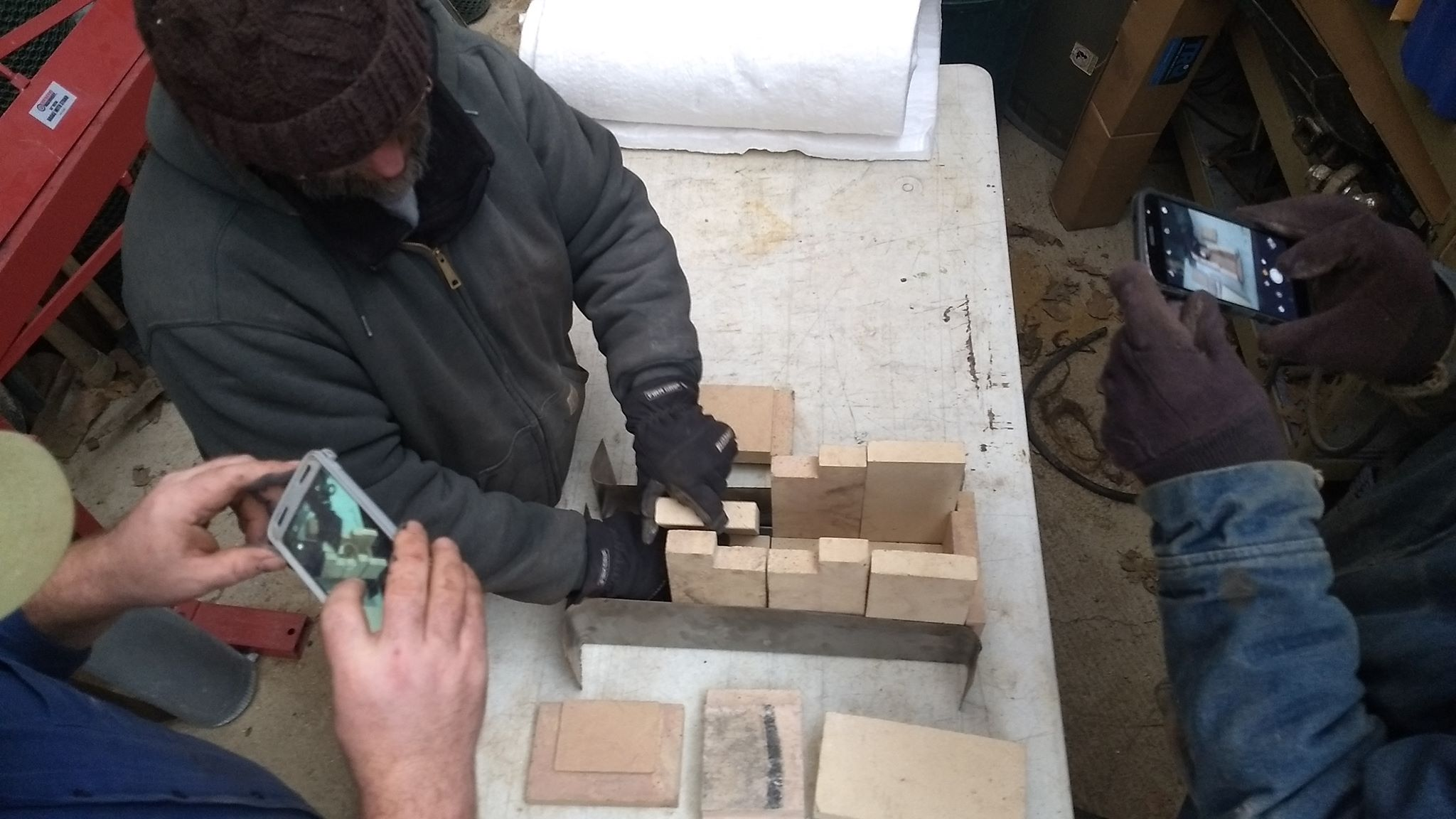 Positioning the cut bricks