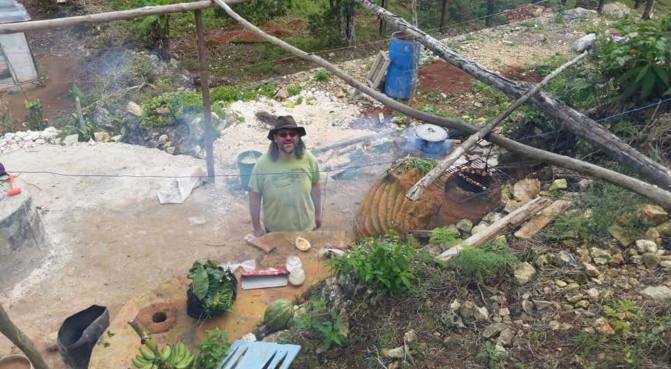 Uncle Mud in the Cob and Stone Outdoor Kitchen